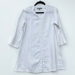 Flax Womens Tunic Top White Linen Pullover 4/6
